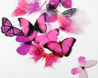 6 x Special Hot Pink 3D Butterflies great for Weddings, Crafts