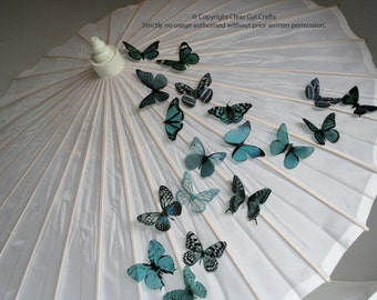 6 x Special Teal 3D Butterflies great for Weddings, Crafts