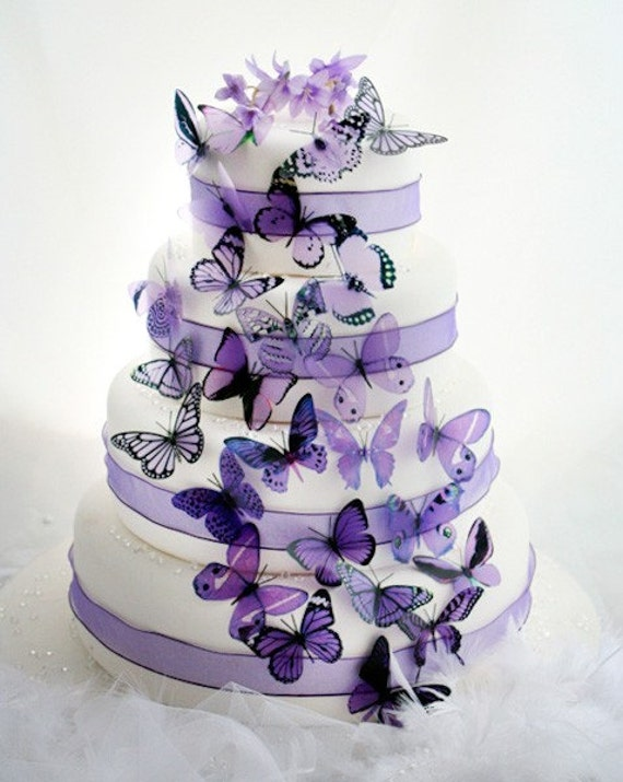 Cake Decoration Butterfly : 50 Mauve and Purple Mixed Butterflies great for Cake Toppers
