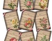 Sheet Music and Floral Arrangements- ENDeARiNG ViNtAgE Art Hang/Gift Tags- Printable Collage Sheet JPG Digital File- BuY 1 GeT 1 FREE