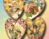 HeARTS- Shabby Chic FAiRiES/PixiES/Flowers Tags/Scrapbooking/Crafts -Printable Collage Sheet Download JPG Digital File- BuY 1 GeT 1 FREE