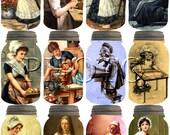 Grandma's Country KiTCHEN -Vintage Art Mason Jar Tags-craft supplies-Printable Collage Sheet JPG Digital File- BuY 1 GeT 1 FREE