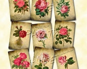 """RuSTIC """"ROSEs with Inspirational Quotes"""" Vintage Art hang/gift Tags  - Printable Collage Sheet JPG Digital File-BuY OnE GeT OnE FREE"""