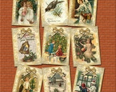 Golden Victorian Christmas ViNtAgE ArT Gift Tags/Cards/Labels/craft supplies- Printable Collage Sheet JPG Digital File-New Lower Price