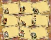 Alice In Wonderland- CHaRMiNG Vintage Art Note Cards -INSTaNT DOWNLoAD- Printable Collage Sheet JPG Digital File- NeW LoWER PRiCE