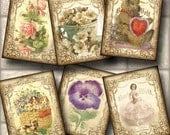 """Delightful ViNtAgE Primitive ArT MiNi TaGs/Cards/Labels-2""""x2.5"""" -CHaRMiNG Assortment -Printable Collage Sheet-BuY OnE GeT OnE FREE"""