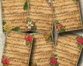 Sheet MuSiC with Flowers Vintage Art TAGS/Cards/Labels/Scrapbook Supplies-Printable Collage Sheet JPG Digital File-New Lower Price