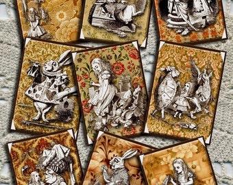 Alice In Wonderland- Primitive Hang Tags/Cards -Instant Download -Printable Collage Sheet Download JPG Digital File