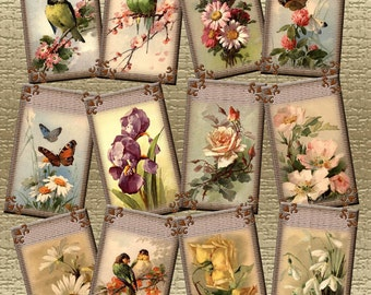 Victorian Flowers and Butterflies- Captivating Vintage Art Gift/Hang Tags- Printable Collage Sheet JPG Digital File- New Lower Price