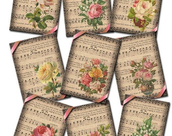 Sheet Music and Floral Arrangements-ENDeARiNG ViNtAgE Art Hang/Gift Tags- Printable Collage Sheet JPG Digital File- NeW LoWER PRiCE