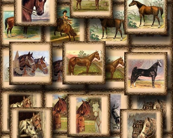 HORSES- PriMiTiVe Vintage Graphics- 20 2x2 Tags/Cards/Labels- INSTaNT DoWNLOAD-Printable Collage Sheet  JPG Digital File- New Lower Price