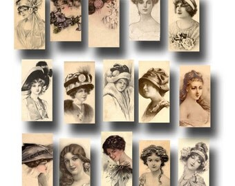 "Vintage Women/Ladies Photos- Early 1900's -1""x2"" Images -CHaRMiNG Printable Collage Sheet JPG Digital File- New Lower Price"