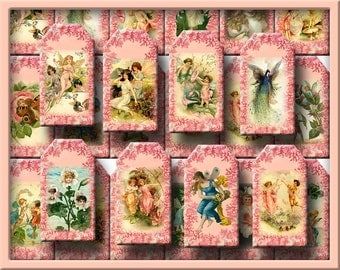 FaiRiEs PiXies SPRiTEs ELVeS -CHaRMiNG Vintage Art Mini Tags-INSTaNT DOWNLoAD- Printable Collage Sheet Download JPG Digital File