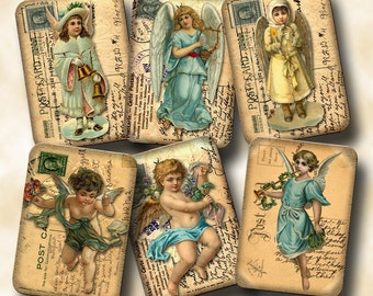 ANGeLS On PoSTCaRDS -CHaRMiNG Shabby Chic Vintage Art Hang/Gift Tags/Cards - Printable Collage Sheet JPG Digital File-New Lower Price