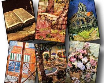 Van Gogh Art -Tags/Cards/Labels- craft supplies- Printable Collage Sheet JPG Digital File--NeW LoWER PRiCE