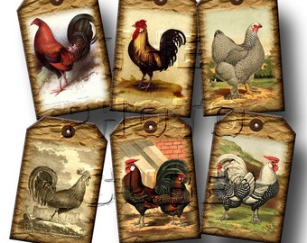 RooSTeRS, Chickens -Barn Yard Touch- 20 Rustic Vintage Art Mini Hang/Gift Tags - Printable Collage Sheet JPG Digital File