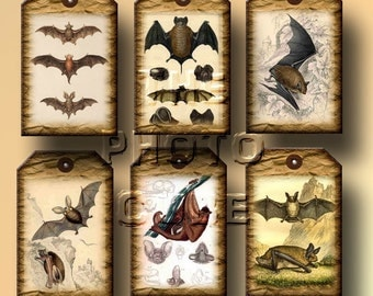 Bats Bats and More Bats- 20 pRiMiTiVe Vintage Art Mini Tags- Printable Collage Sheet Download JPG Digital File- New Lower Price