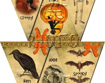 PRiMiTiVe gRunGeD & gOuLiSh Halloween Vintage Art Pennants- Printable Collage Sheet JPG Digital File-Create A Banner