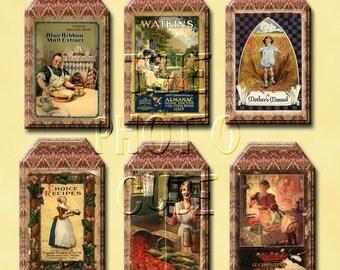 CoOKBOOK CoVERS - AnTiQuEd ViNtAgE ArT Hang/GiFT Tags/Cards- INSTaNT DOWNLoAD- Printable Collage Sheet JPG Digital File