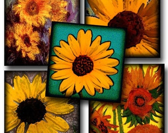 SuNFLOWERS 1 inch squares- Great ASSORTMENT -Tile Jewelry- Craft Supplies- Printable Digital Collage Sheet JPG File- Buy ONe Get ONe FREE