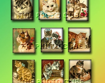 "CATS Kittens- .75""x.83"" Tiles-CHaRMiNG ViNTaGe ArT Jewelry/Crafting Supplies- Printable Collage Sheet JPG Digital File- NeW LoWER PRiCE"
