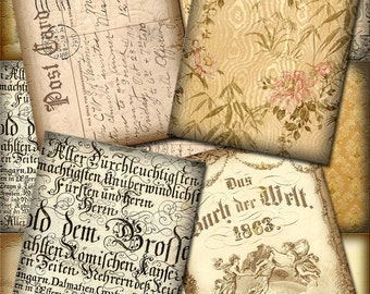 AnTiQuEd Vintage Postcard Backgrounds -CHaRMiNG pRiMiTiVe Printable Collage Sheet JPG Digital File -BuY OnE GeT OnE FREE