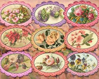 FLoWER GaRDEN- CHaRMiNG Antique Chic OvalS- Vintage Art Hang/Gift Tags- INSTaNT DOWNLoAD- Printable Collage Sheet JPG Digital File