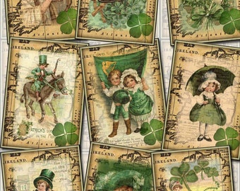 Vintage St Patrick's Day - Digital Collage Sheet -INSTaNT DOWNLoAD- Print It Yourself Paper Crafts Original Whimsical Altered Art