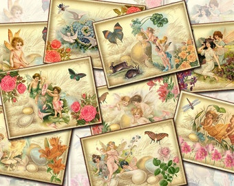 FAIRY PiXie Imp SPRiTE- WHiMSiCaL Vintage Art Tags/paper crafts-INSTaNT DOWNLoAD- Printable Collage Sheet- JPG Digital File-New LoWER PRiCE