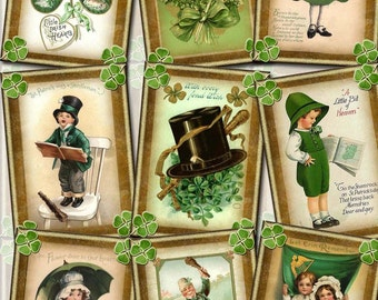 PriMiTiVe St Patrick's Day - Digital Collage Sheet -Print It Yourself Paper Crafts Original Whimsical Altered Art