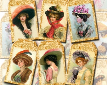Lovely Victorian Women with Hats Vintage Art Hang/Gift TAgs - INSTaNT DOWNLoAD- Print Your Own Collage Sheet- JPG Digital File