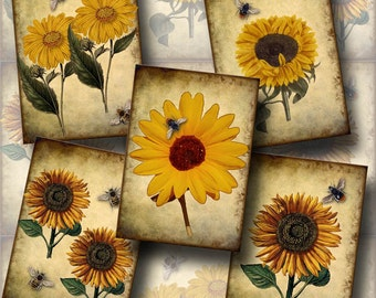 SuNFLOWERS & BeeS Vintage RuSTiC Art Tags /paper crafts - CHaRMiNG Printable Collage Sheet JPG Digital File-New Lower Price