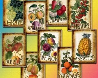 FRUIT- Vintage Graphics Tags/Cards -  Printable Collage Sheet JPG Digital File - Instant Download -Paper Crafts-New Lower Price
