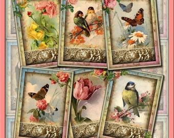 FLoWERS BiRDS BuTTERFLiES -CHaRMiNG ViNTaGE ArT TaGS/LaBeLS -Craft Supplies- Printable Collage Sheet JPG Digital File-BUy ONe GEt ONe FREE