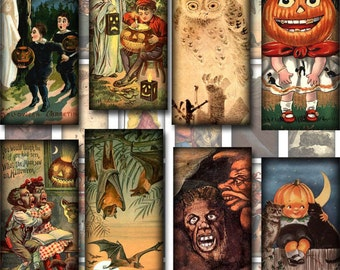 Spooky Eerie 1x2 inch vintage Art Domino Size Images-INSTaNT DOWNLoAD- Printable Collage Sheet JPG Digital File -YoU Print