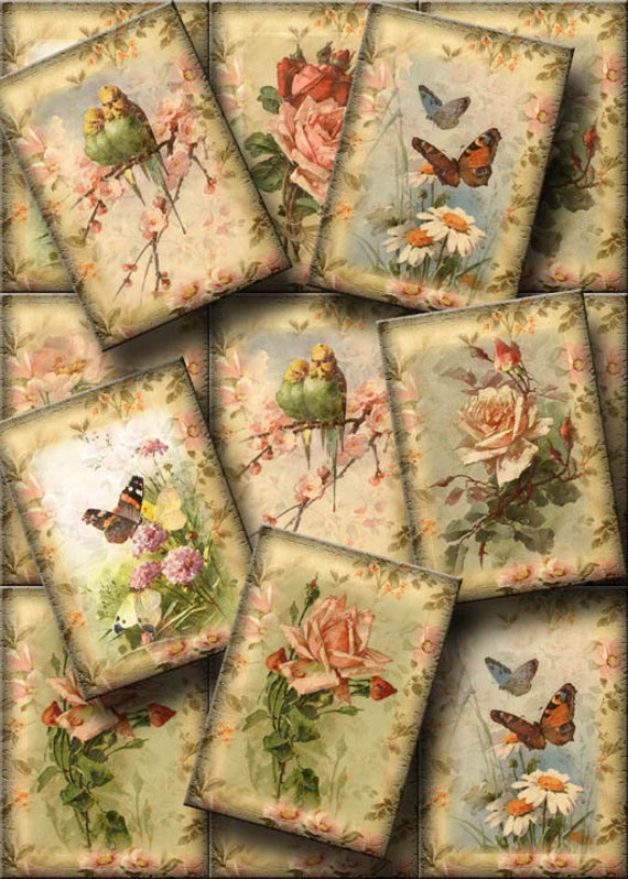 LoVeLY Romantic Roses & Butterflies Vintage Art Hang/Gift Tags-INSTaNT DOWNLoAD-Printable Collage Sheet JPG Digital File-New Lower Price