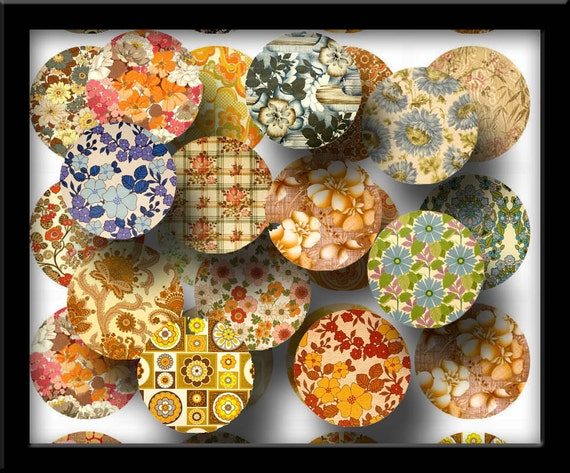 """Flowers 1"""" circles -GReAT For Art Projects-JeWeLRy MaKiNG-INSTaNT DOWNLoAD- Printable Collage Sheet  JPG Digital File- New Lower Price"""