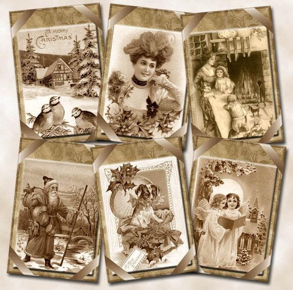 PriMiTiVe Nostalgic Sepia Tone Christmas ViNtAgE Images Gift/Hang Tags- Printable Collage Sheet Download JPG Digital File- NeW LoWER PRiCE