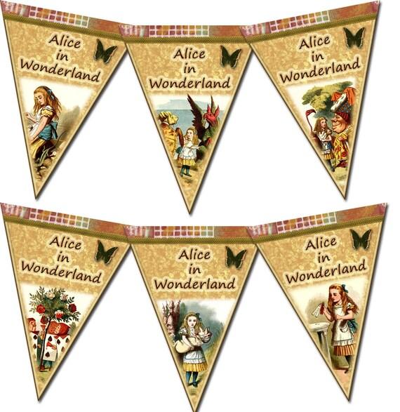 ALiCE In WoNDERLAND -Pennants/Flags/Banner-INSTaNT DOWNLoAD- CHaRMiNG Vintage Art- Printable Collage Sheet JPG Digital File- New LoWER PRiCE