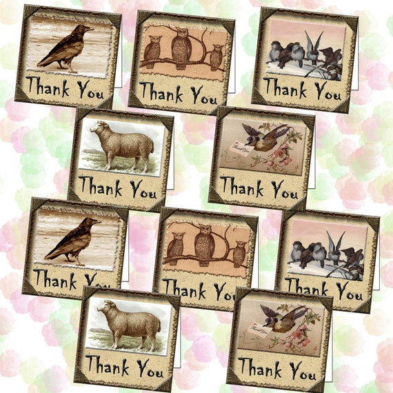 PRiMiTiVE Thank You Fold Over Mini Note Cards w/Envelope Template-CrOw OwLs ShEEp,BiRdS-Printable Collage Sheet - New Lower Price