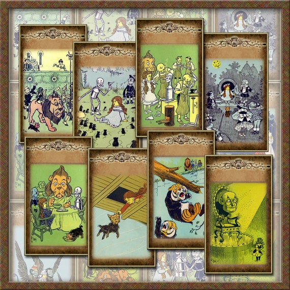 WiZARD Of OZ - Lions Tigers and Bears Oh My- Hang/Gift Tags/Cards/Labels -Printable Collage Sheet JPG Digital File-BuY OnE GeT OnE FREE