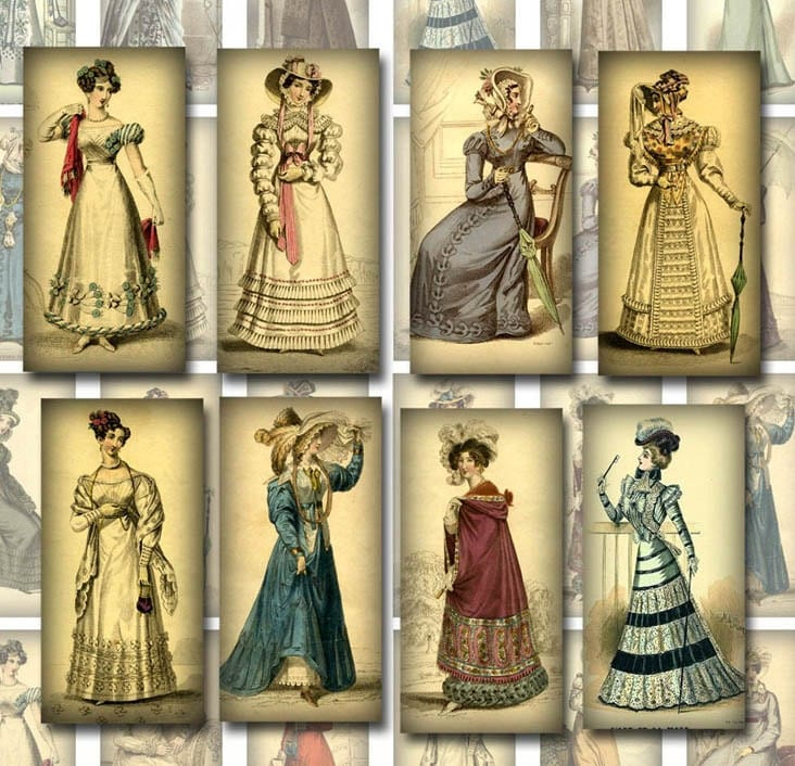 Vintage Women-1800's Fashion 1x2 Inch Images-Jewelry/Craft