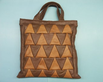 Unique one-of-a-kind new/unused tote bag/handbag of strong real natural skin/leather