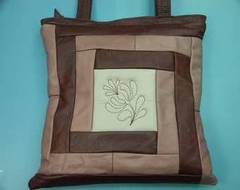 New unused shoulder tote bag of beige, pink and deep cherry red skin/leather with quilted caprifiole flowers on both sides in own design
