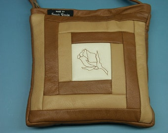 Unusual one-of-a-kind small new/unused shoulderbag of white and brown/goldbrown skin/leather in my own design