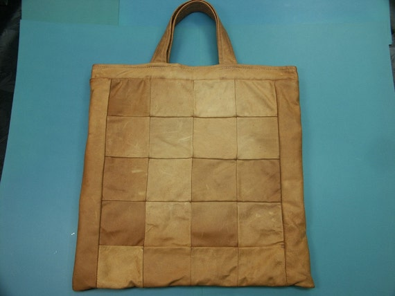 Large unusual one-of-a-kind handmade highquality new/unused tote shopping hand bag made of soft genuin natural tan rein deer skin/leather