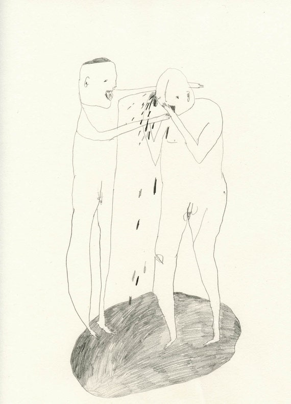 Original drawing - A Fight Broke Out 004- Pencil on Paper