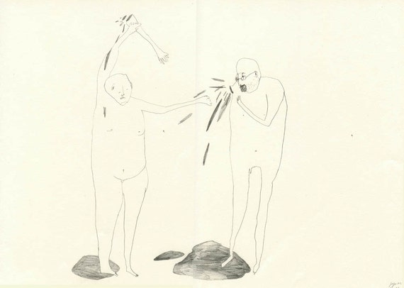 Original drawing - A Fight Broke Out 006- Pencil on Paper