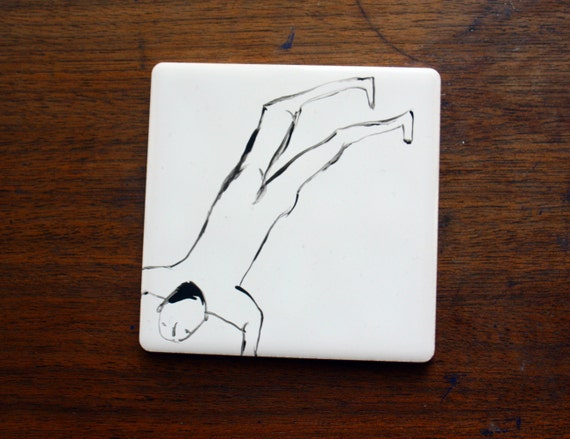 Hand painted Ceramic Tile - The Swimmers