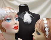 Whites and cream  wedding  fascinator flapper headband  hairclip brooch choker necklace, with free shipping
